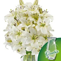 10 white lilies in a bunch: All Flowers