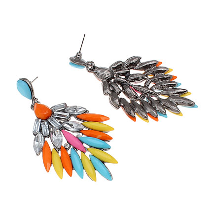 Golden Peacock Multi Colour Earring