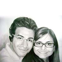 A2 Size Couple Pencil Portrait: Personalised Photo Frames for Anniversary