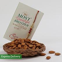 Almonds Rakhi Treat: Rakhi - Same Day Delivery