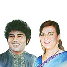 Color Pencel Couple A2 Size: Personalised Photo Frames - Rakhi