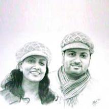Couple Pencil Portrait A2 Size: Anniversary Photo Frames