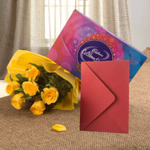 Flower Hamper N Greeting Card: Flowers & Cards Kolkata