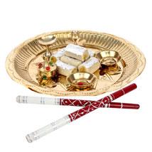 Golden Puja Thali and Dandiya: Pooja Thali for Navratri