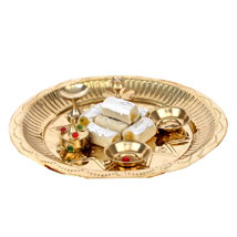 Golden Puja Thali: Pooja Thali to Hyderabad