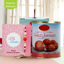 Juicy Gulab Jamun combo: Rakhi With Sweets Allahabad