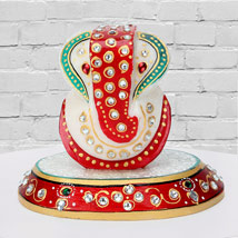 Marble Ganesha On A Chowki: Womens Day Gifts for Bhabhi