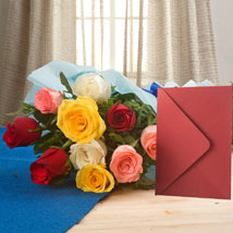Mix Roses N Greeting Card: Flowers & Cards for Wedding
