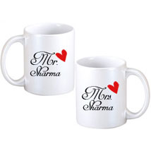 Mr and Mrs Couple Mugs: Personalised Gifts Shahjahanpur