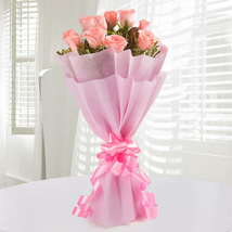 Pink Roses Bunch: Send Anniversary Gifts to Kochi