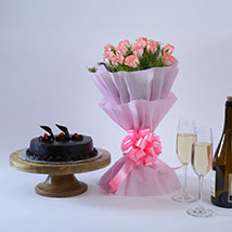 Pink Roses with Cake: Flower Bouquets - Mother's Day