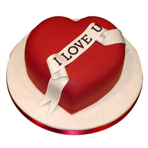 Red Heart Love You Cake: Send Anniversary Cakes for Wife