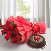 Red Rose with Cake: Flowers to Mau