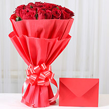 Red Roses N Greeting card: Valentines Day Send Flowers & Cards