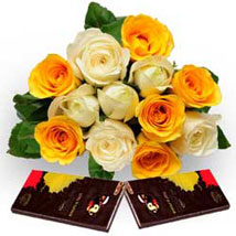 Roses with Dark Chocolate: Flowers N Chocolates