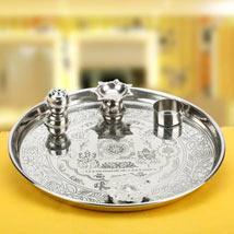 Silver Auspiciousness: Karwa Chauth Pooja Thali Jaipur