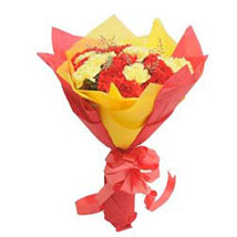 Yellow N Red Carnations: Designer Bouquet