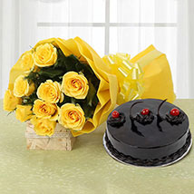 Yellow Roses and Cake: Flowers & Cakes for Him